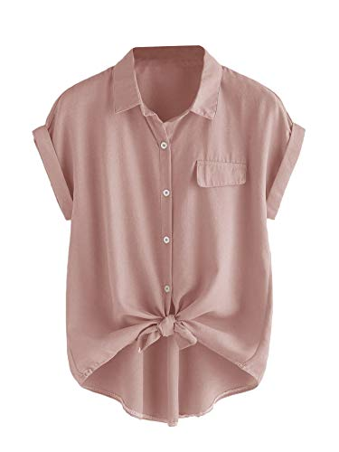 Romwe Women's Plus Size Casual Short Sleeve Button Down Tie Knot Front Tshirts Loose Tops Pink#1 2X Plus