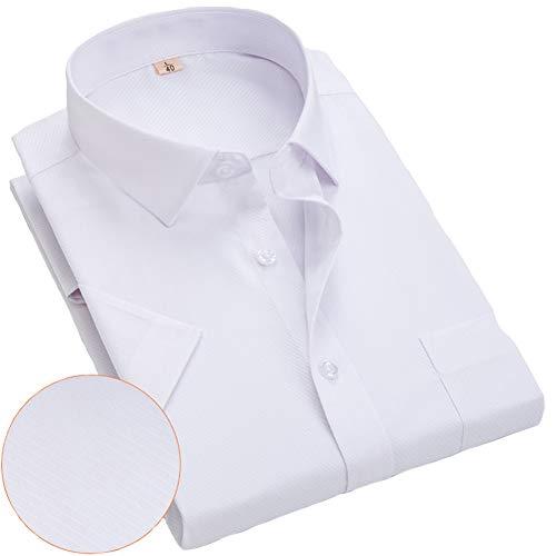 Herren Loose Shirts Halbarmhemd Casual Top mit Tasche, einfarbig kariert Wellenpunkte drucken Vollknopf Revers Freizeithemden No-Iron Straight Hem Shirt