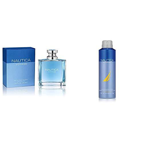 Nautica Voyage By Nautica For Men. Eau De Toilette Spray 3.4 Fl Oz and Nautica Voyage Body Spray, 6 Fluid Ounce