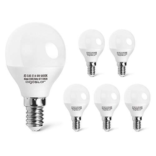 Aigostar - Pack de 5 Bombillas esfericas LED A5 G45, 5 W Ahorro de energía, 425 400 lúmenes, Casquillo fino E14, Luz blanca 6400K - 5 unidades[Clase de eficiencia energética A+]