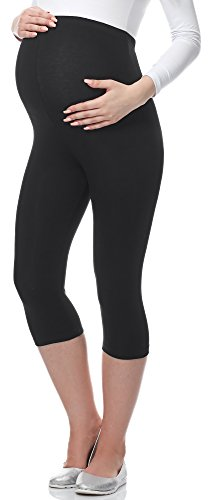 Be Mammy 3/4 Umstandsleggings aus Viskose BE-03 (Schwarz, XL)