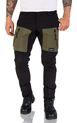 Rock Creek Herren Softshell Hose Cargohose Outdoorhose Wanderhose Herrenhose Wasserdicht Skihose Arbeitshose Winter Hose H-196 Schwarz-DGrün 2XL