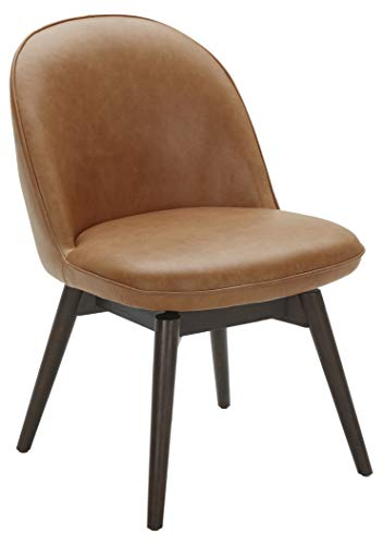 """Amazon Brand – Rivet Contemporary Leather Dining Chair with Swivel Seat, 33""""H, Cognac"""