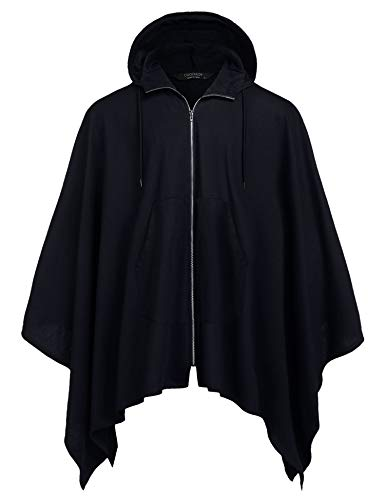 COOFANDY Mens Casual Hooded Cloak Cotton Robe Cape Coat Autumn Vintage Poncho