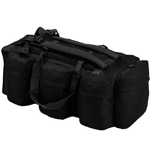 vidaXL Bolso de Lona Estilo Militar 3-en-1 120L Negro Maleta Mochila Deportes