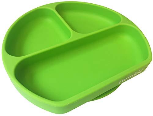Twinkle - Plato de Silicona con Ventosa para Bebe - Plato Infantil Antideslizante con Succion para BLW y Aprendizaje Bebes (Verde)