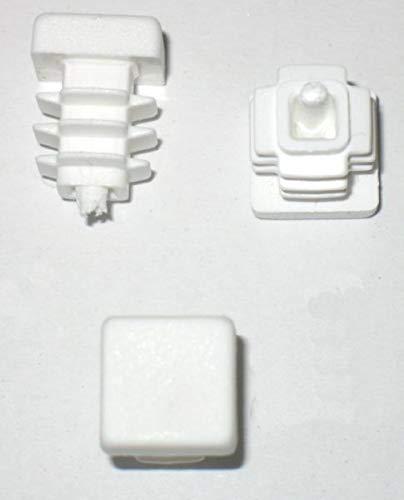 20 pcs - Bouchon à ailettes Bouchon tube carré 15 x 15 mm (extérieur) Bouchon BLANC