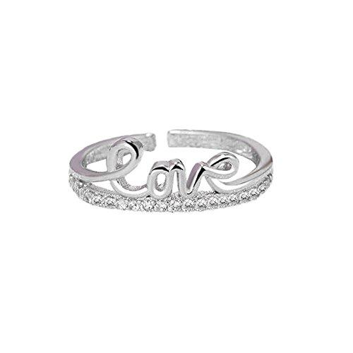 Demarkt–Anillos Mujer Ajustable moderna moda y Simplicidad Love eröffnung anillos plata