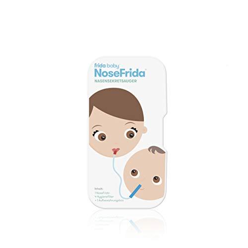 Rotho Babydesign Nasensekretsauger, Inkl. 4 Hygienefilter, Nachfüllbar, Ab 0 Monaten, NoseFrida, 50×2,3×2,3cm,  Blau/Weiß, 200830012 - 7