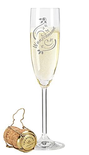 Leonardo Sektglas mit Gravur eines Namen - Hochwertige Laser-Gravur - im Vintage Design als Geburtstagsgeschenk Weihnachtsgeschenk - Personalisiert mit Wunschgravur