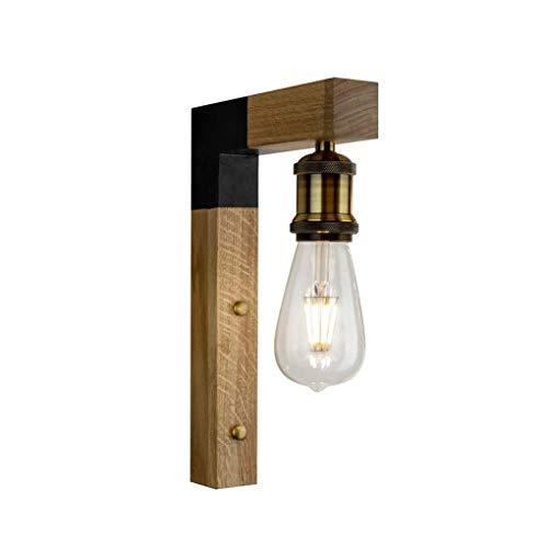 ZMH Wandleuchte innen aus Holz vintage Wandlampe Rustikal E27 Wandbeleuchtung Industrie Industrielampe für Flur Landhaus Schlafzimmer Wohnzimmer Esstisch
