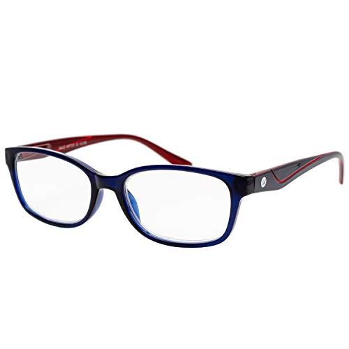 エール 老眼鏡 3.0 度数 プラスチックフレーム バネ蝶番 ネイビー AP131S