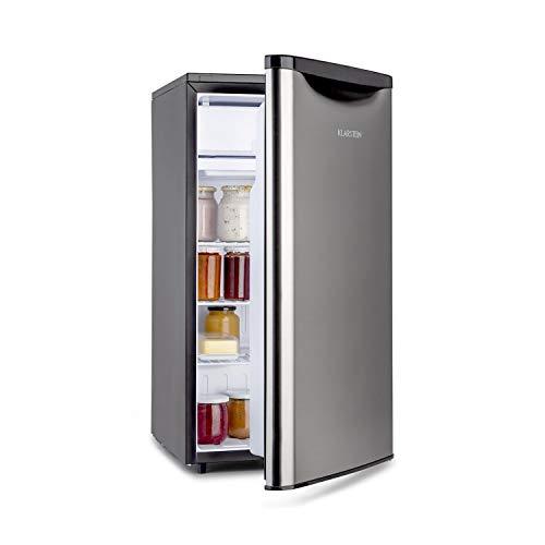 KLARSTEIN Yummy - Frigorifero Combinato, Vano Freezer: 8 L, Frigo: 82 L, Rivestimento Cromato, Classe Energetica F, Refrigerante: R600a, 41dB, Volume: 90 L, Nero Argento