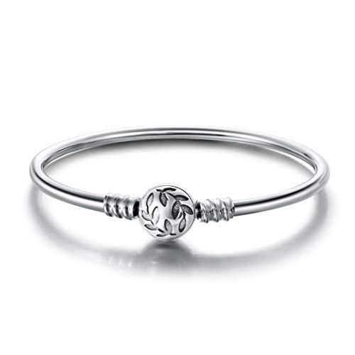 Jiayiqi - Braccialetto con charm in argento Sterling 925, con chiusura scintillante, ideale come regalo per donne e ragazze, 17-20 cm e Argento, colore: Chiusura a foglia di oliva., cod. K46473SC14U