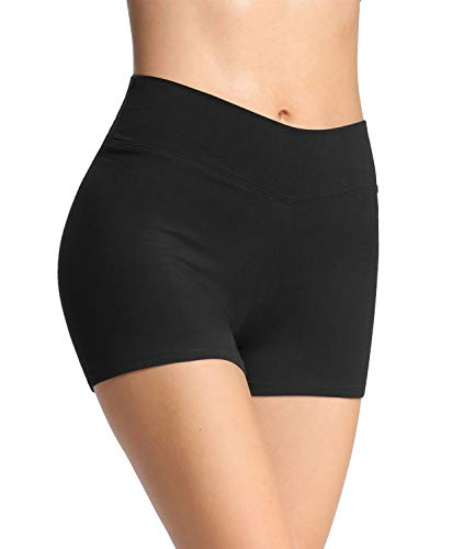 4How Damen Tights Shorts Sport Kurze Hosen Radlerhose Laufshorts Fitness Yoga Tanzen Shorts Sportshorts Hotpants Sommer Unterrock Kleid Schwarz L