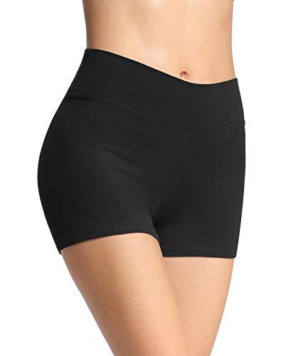 4How Damen Tights Shorts Sport Kurze Hosen Radlerhose Laufshorts Fitness Yoga Tanzen Shorts Sportshorts Hotpants Sommer Unterrock Kleid Schwarz M