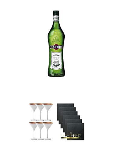 Martini Extra Dry Vermouth 3 x 1,0 Liter + Stölzle Cocktail-und Martiniglas Olympic Serie 6 Gläser - 1408825 + Schiefer Glasuntersetzer eckig 6 x ca. 9,5 cm Durchmesser