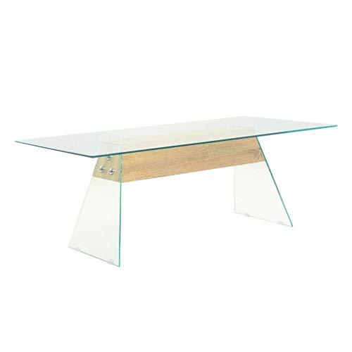 Festnight Couchtisch Kaffeetisch Sofatisch Wohnzimmer Tisch aus MDF und Glas 110 x 55 x 40 cm Eichenoptik