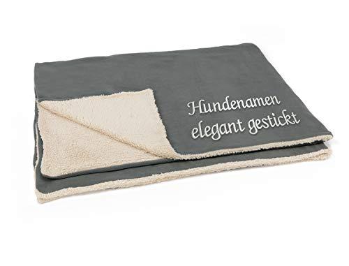 Hundedecke mit Namen Bestickt, XL Größe ca. 130x160cm, weiche Decke extra groß mit Hundenamen personalisierbar