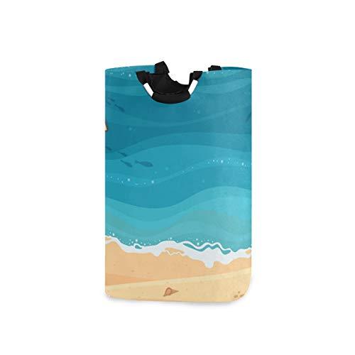 COFEIYISI Wäschesammler Wäschekorb Faltbarer Aufbewahrungskorb,Draufsicht Tropisches blaues Meer Sandstrand Holzboot,Wäschesack - Wäschekörbe - Laundry Baskets