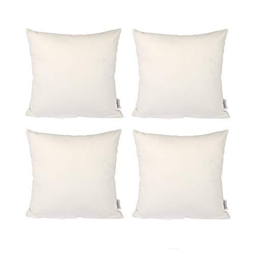 Edaygo Kissenbezug Kissenhülle Sofakissen Deko, Baumwolle, Hautfreundlich Atmungsaktiv, mit Reißverschluss, 4er Set, 50 x 50 cm, Weiß