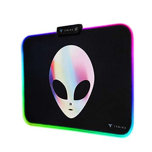 TYNIKA RGB Gaming Mouse Pad (13.8x9.8 in) - Large Soft LED Mousepad with 14 Lighting Modes, Non-Slip Rubber Base - Waterproof Computer Keyboard Mouse Mat, 350x250x5mm, Alien