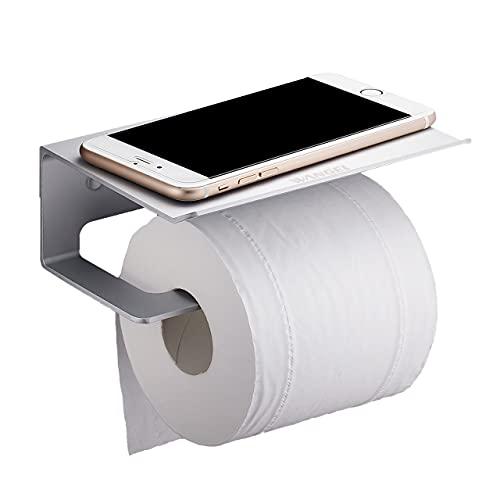 Wangel Toilettenpapierhalter ohne Bohren, Patentierter Kleber + Selbstklebender Kleber, Aluminium, Matte Finish, Mattsilber