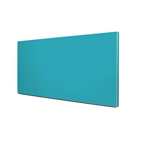 banjado Design Magnettafel silber | Wandtafel magnetisch 37x78cm groß | Metall Pinnwand | Memoboard mit Magneten und Montageset | Motiv Türkis