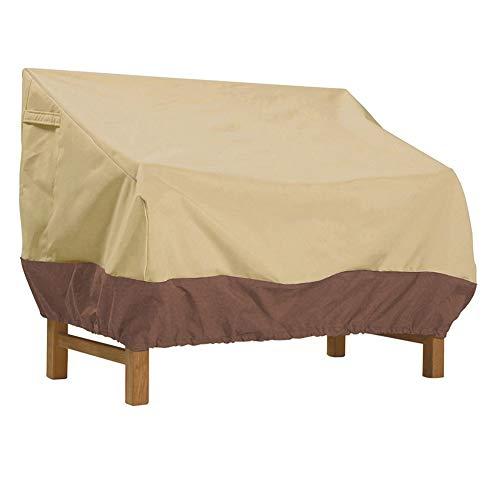ZSCKJ Funda para sofá de dos asientos al aire libre, 100% impermeable, cubierta para sofá al aire libre, cubierta para muebles de terraza con agujeros de aire, beige y marrón (Khaki, pequeño)
