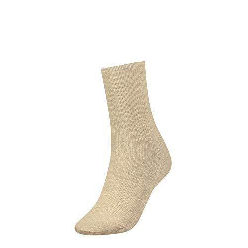 Tommy Hilfiger Damen TH Women GLIITER Socken, Gold (Gold 393), 39/42