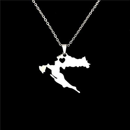 Collar Nuevo Collar de Acero Inoxidable Mapa de Croacia Collares Pendientes para Mujer Gargantilla de Color Plateado Regalo de joyería Collar de joyería Personalizado de Croacia YUAHJIGE