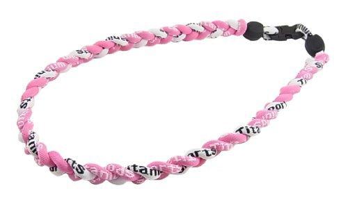 白/薄ピンク 三つ編みゲルマニウムネックレス スポーツネックレス アスリートネックレス KY-5mm  白/薄ピンク