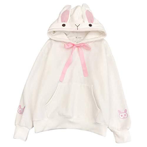 Fairy Costume Damen Teenager Mädchen Hasen Ohren Pullover Hoodie Pulli Sweatshirt Streetwear Langarm Kapuzenpullover Tops Bluse Brief Kapuzen Sweatshirt