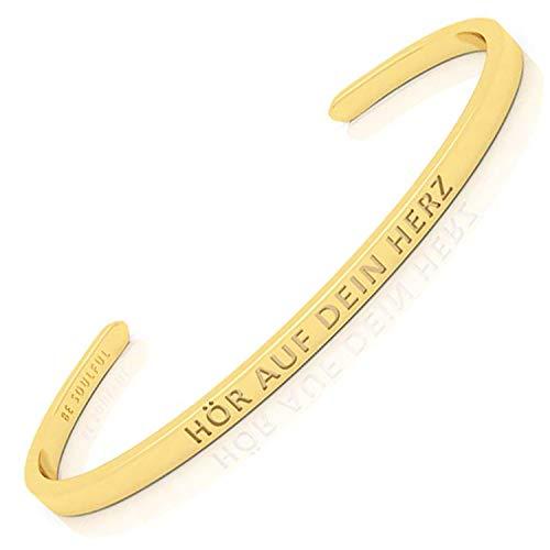 BE SOULFUL Armreif mit Gravur für Damen - HÖR AUF DEIN HERZ - Armband für Lieblingsmenschen - Freundschaftsarmband - Schutzengel (Gold - blinde Schrift)