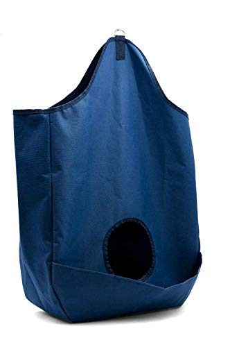 Reitsport Amesbichler Heutasche mit Auffang-Tasche Heunetz Heusack Heuraufe Beschäftigungssack AMKA - H: 70cm B: 46cm T: 16cm Futternetz artgerechte Fütterung - blau