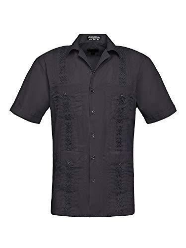 Men's Premium Short Sleeve Embroidered Guayabera Cuban Shirts - Omega - Black - Medium