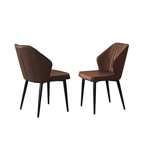 Esszimmerstühle Set mit 2, lederstühle esszimmer, Matte Metallbeine, Wohnzimmerstuhl mit Rückenlehne, Loungesessel, Büroempfangsstuhl, Schlafzimmerstuhl,Braun 48x45x84 cm