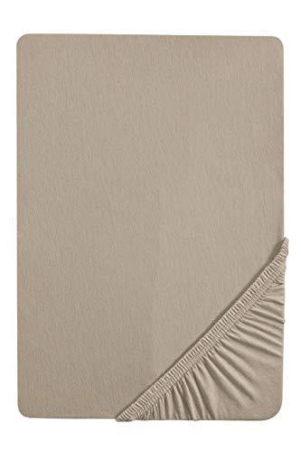 biberna 0077641 Jersey Elastic Topper Fitted Sheet (Topper Height 8-12 cm) (Cotton/Elastane) 90 x 190 cm - 100 x 220 cm Basalt