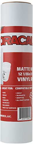 12.125' x 10ft Roll of Oracal 651 Matte White Craft Vinyl - On a 2.5' Core - Adhesive Vinyl for Cricut, Silhouette, and Cameo Cutters - Gloss Finish - Outdoor and Permanent