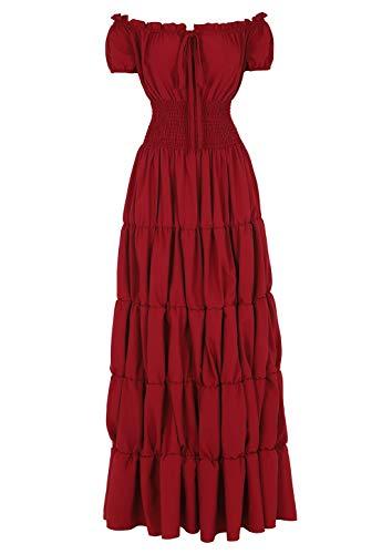Haoaugut Women Renaissance Medieval Irish Costume Over Dress Smocked Waist Retro Gown Cosplay Burgundy XL