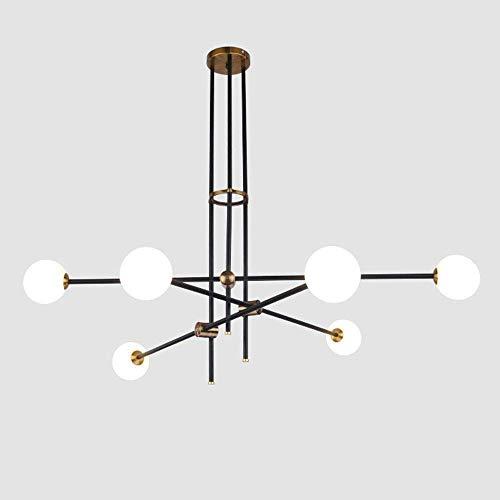 Luz de hierro forjado de hardware posmoderno luz de techo de bola de cristal iluminación Art Deco G9 para mesa de bar Tienda de ropa Restaurante Sala de estar (Tamaño: 2 cabezas)
