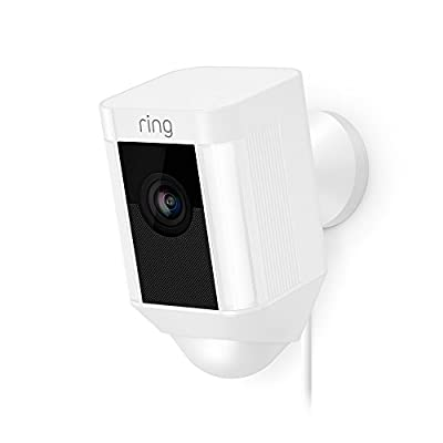 Ring Spotlight Cam Wired: Plugged-in HD security camera with built-in spotlights, two-way talk and a siren alarm, White, Works with Alexa by Ring