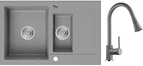 Granitspüle Grau 78 x 50 cm, Spülbecken + Küchenarmatur + Siphon Automatisch, Küchenspüle ab 60er Unterschrank in 5 Farben mit Armatur Varianten, Einbauspüle von Primagran
