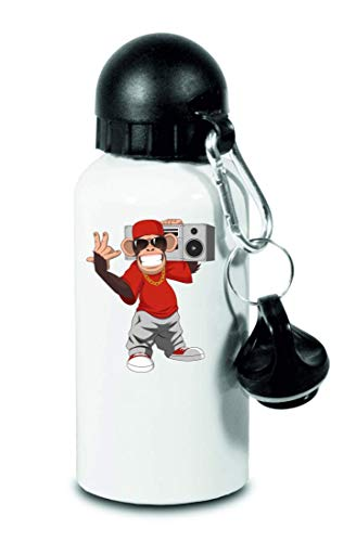 Drucklebnis24 – Botella – AFFE Gangster Cartoon Circo – para niños, escuela, deporte, fitness – Botella de agua fina de aluminio, color Blanco, tamaño 500 ml