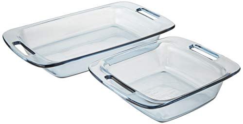 Pyrex SYNCHKG099487 2 Piece Easy Grab Atlantic Blue Value Pack Includes 8 inch squareand 3 Quart Oblong, 2 pc, Clear