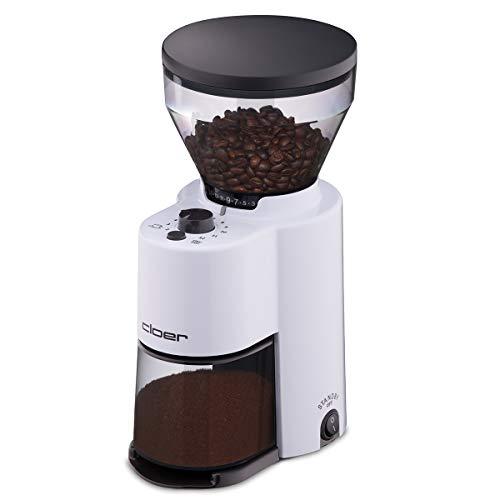 Cloer 7521 Elektrische Kaffeemühle mit Kegelmahlwerk aus Edelstahl, Stiftung Warentest gut, 2-12 Tassen, 300 g Kaffeebohnen, 150 W, verstellbarer Mahlgrad, Kunststoff, weiß