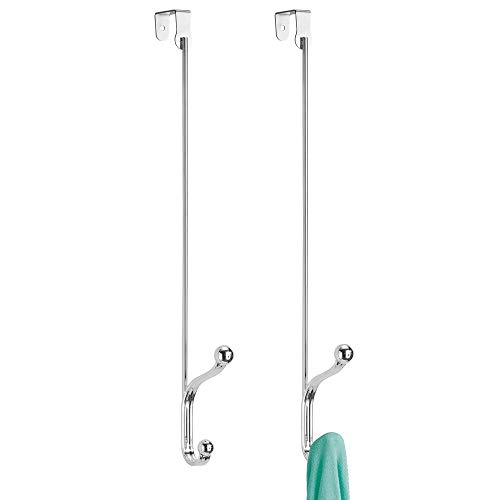 mDesign Juego de 2 colgadores para puerta de metal – Dos percheros de puerta para pasillos o cuartos de baño – Perfecto cuelga ropa para chaquetas, bolsos o toallas – plateado