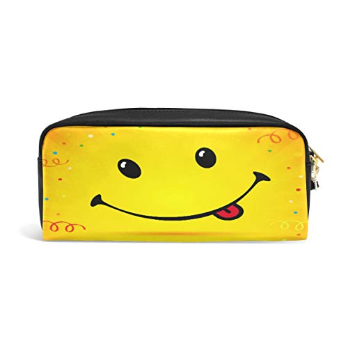 iRoad - Estuche para lápices con diseño de emoticonos de sonrisa de gran capacidad, con cremallera, bolsa de maquillaje, con compartimentos para niñas, niños y adultos