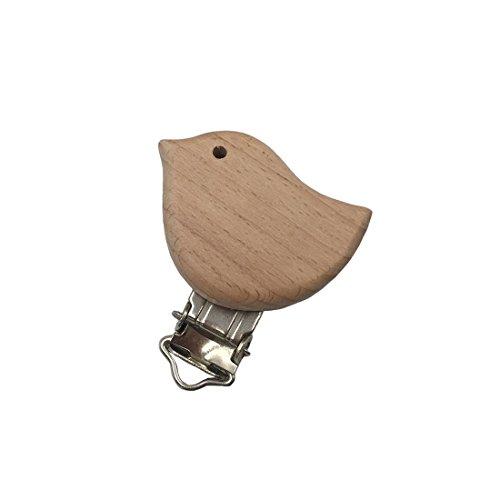 Tvvudwxx - Clips para chupete de madera de haya, accesorios para dentición, cadena de chupete