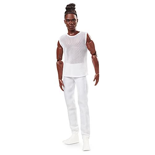 Barbie- Bambola Ken Afroamericano Signature Barbie Looks Ken, Snodato Moro con Chignon, Giocattolo per Bambini 6+Anni, GXL14